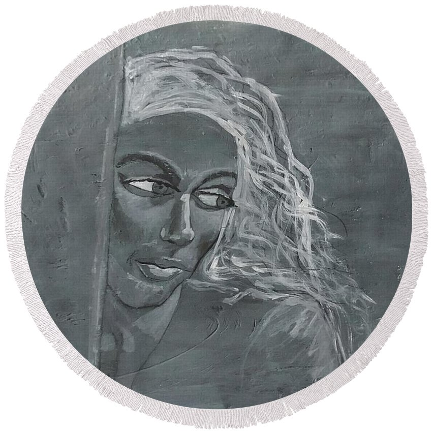 Women Round Beach Towel featuring the painting In The Moon Light by J Bauer