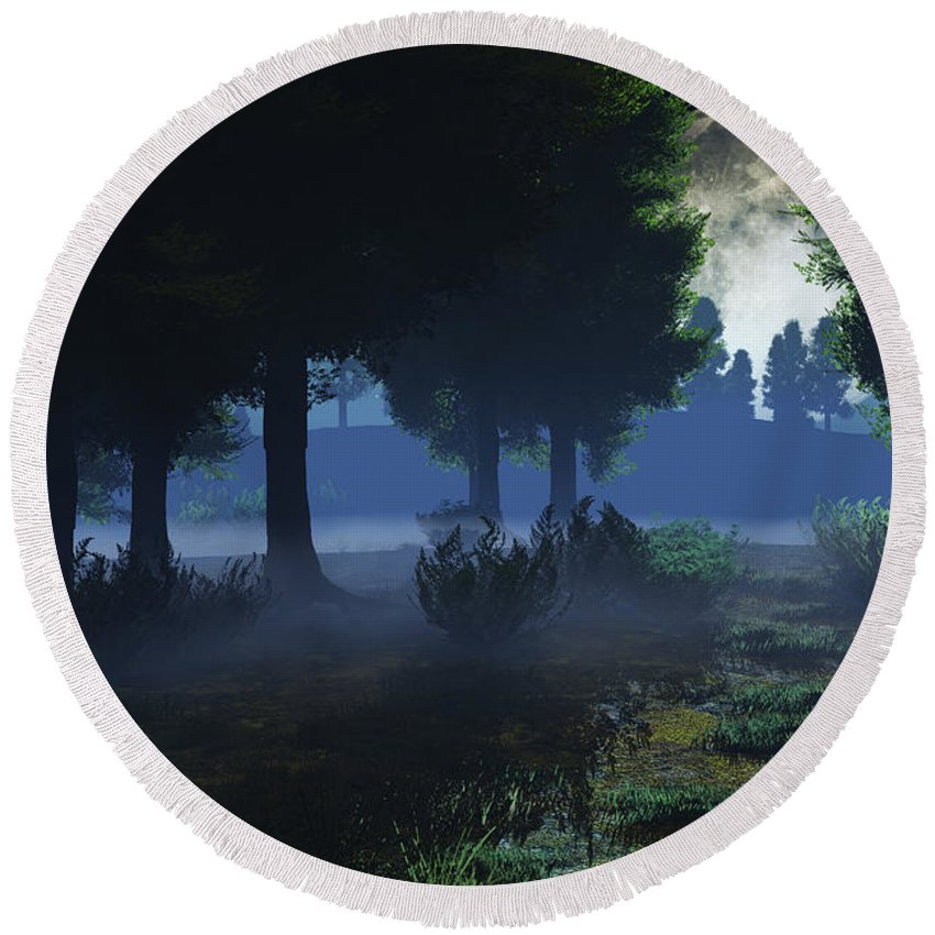 Fog Round Beach Towel featuring the digital art In The Moon Light by Max Steinwald