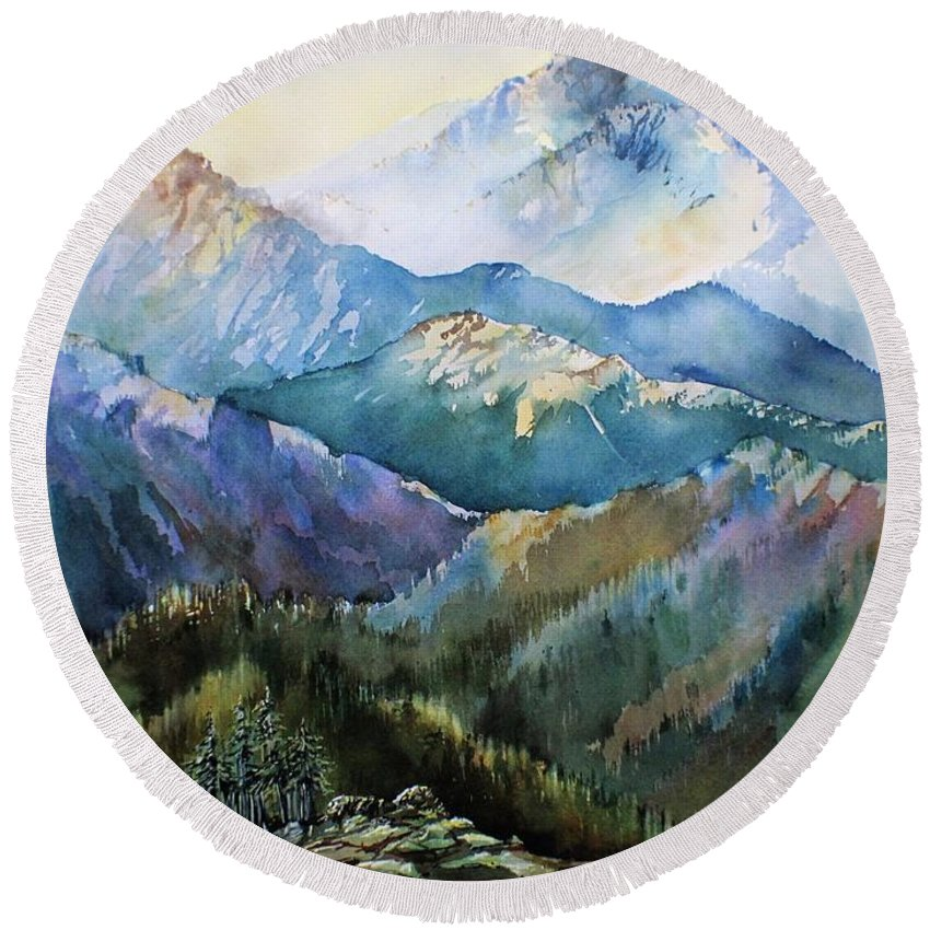 Mountains Landscape Forest Snow Sunshine View Vista Wilderness Ski Hike Autumn Winter Round Beach Towel featuring the painting In The Mountains by Mary Lou McCambridge