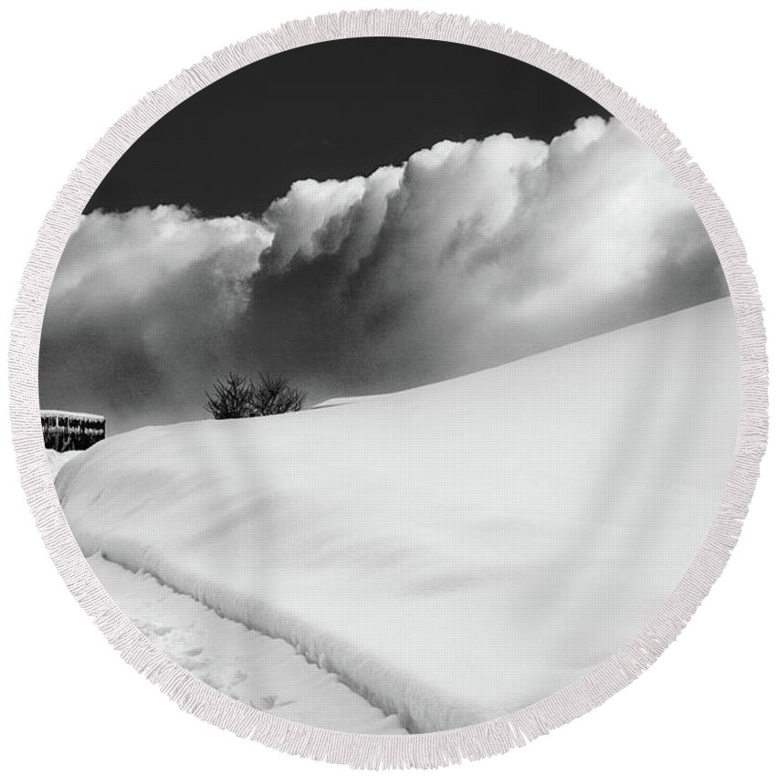 Bw Round Beach Towel featuring the photograph in the Ore Mountains by Dorit Fuhg