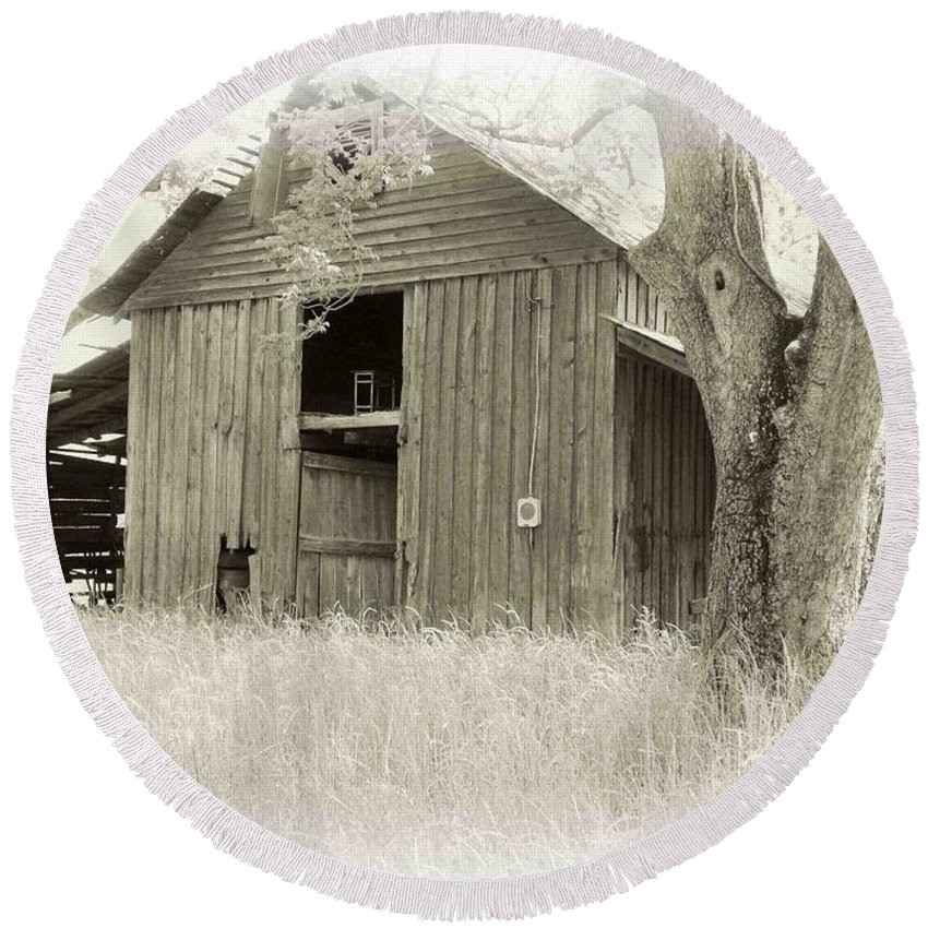 Barn Round Beach Towel featuring the photograph In The Pecan Orchard by Nelson Strong