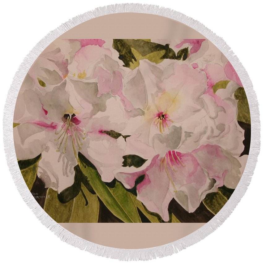 Pink Round Beach Towel featuring the painting In The Pink by Jean Blackmer