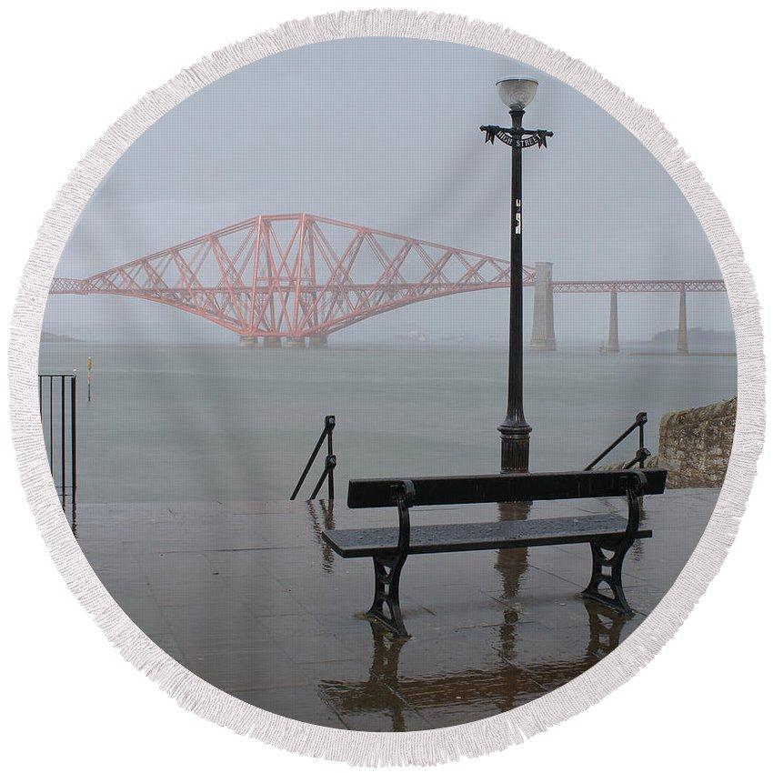 Forth Rail Bridge Round Beach Towel featuring the photograph In The Rain by Elena Perelman