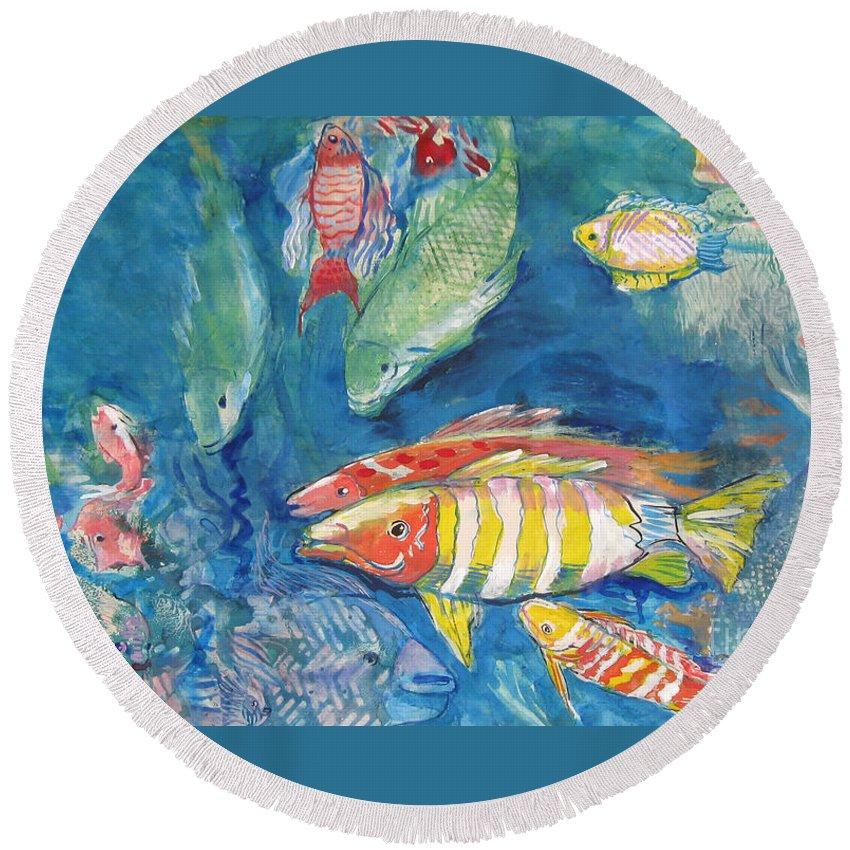 Water Round Beach Towel featuring the painting In the Sea by Guanyu Shi