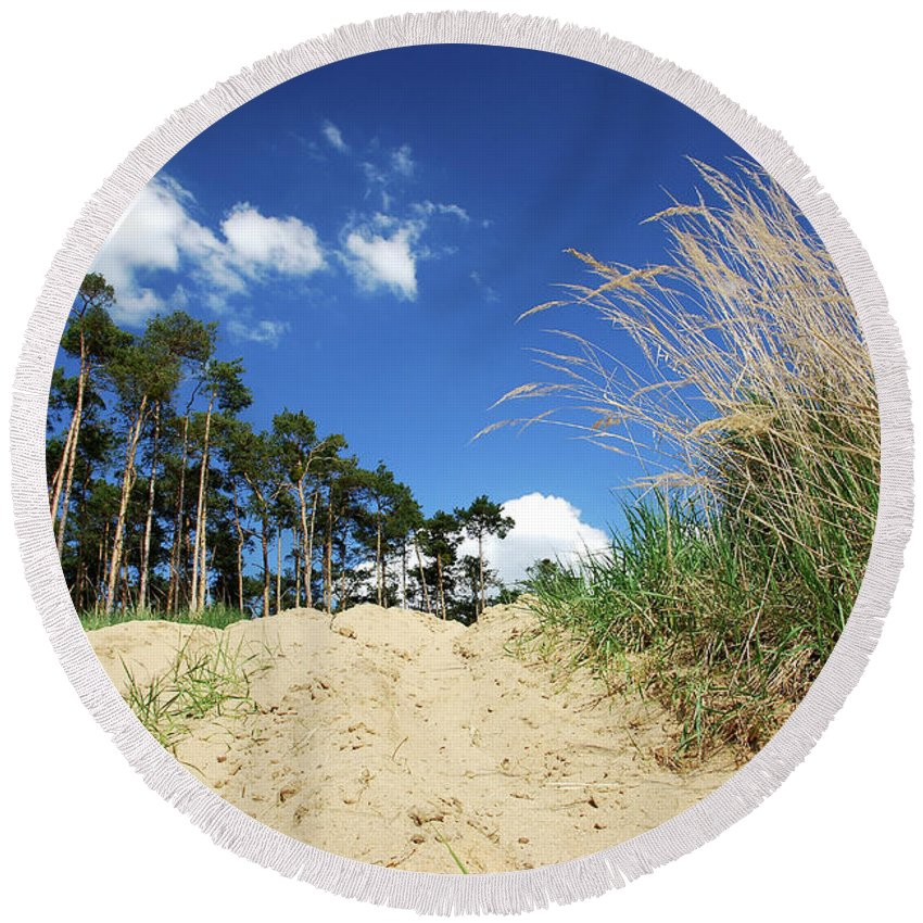 Landscape Round Beach Towel featuring the photograph In The Sky by Juraj Simek