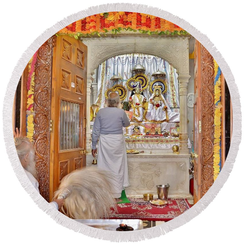 Temple Round Beach Towel featuring the photograph In The Temple Door by Kim Bemis