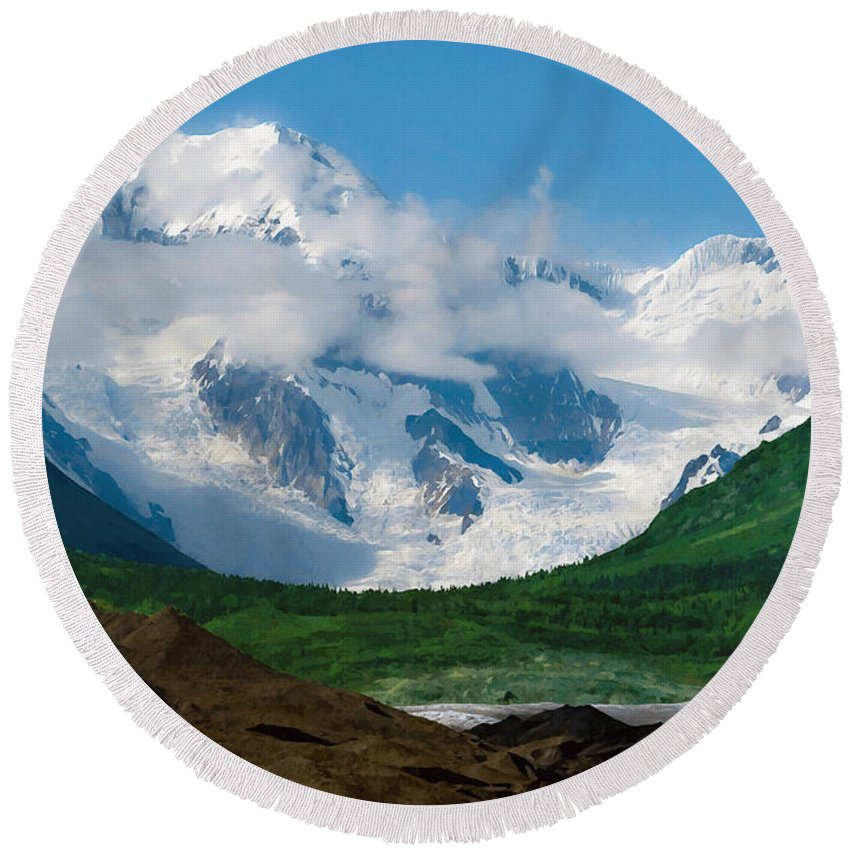 Alaska Round Beach Towel featuring the digital art In The Valley by Max Steinwald