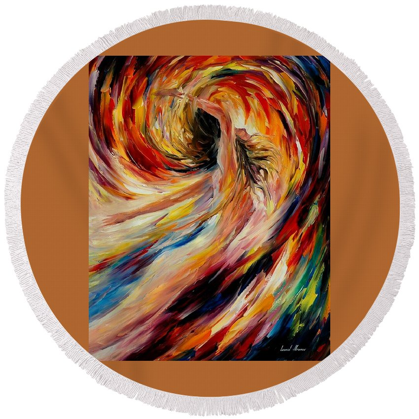 Nude Round Beach Towel featuring the painting In The Vortex Of Passion by Leonid Afremov