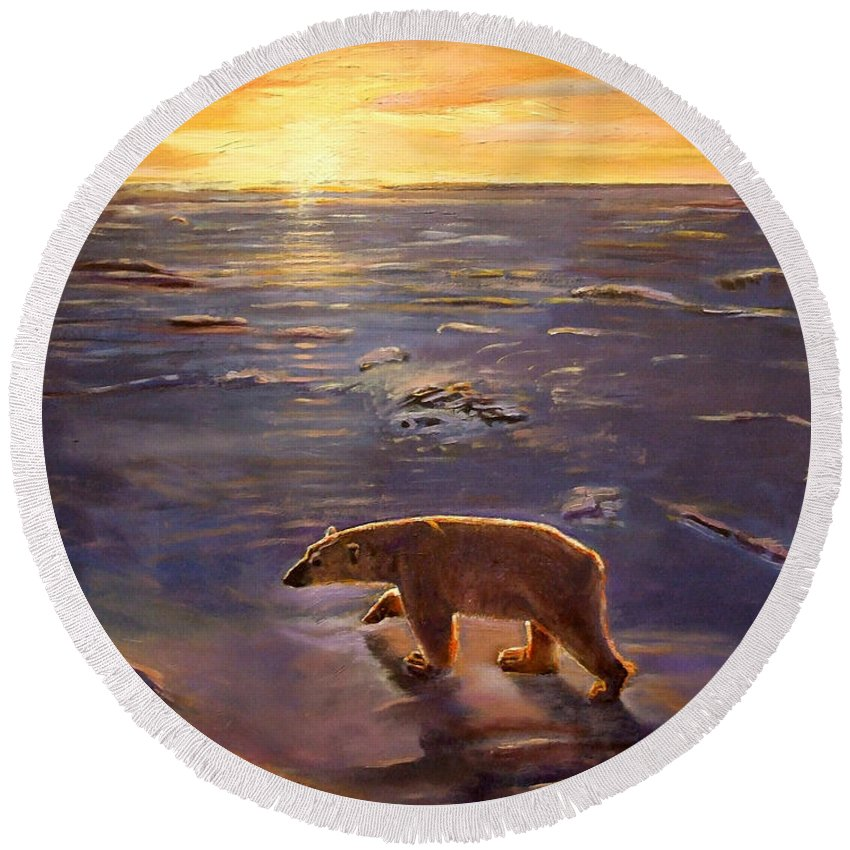 Polar Bear; Arctic; North Pole; Sunset; Setting Sun; Global Warming; Climate Change; Environmental; Melting Ice; Solitary; Deserted; Bear; Ice Round Beach Towel featuring the painting In The Wilderness by Kevin Parrish