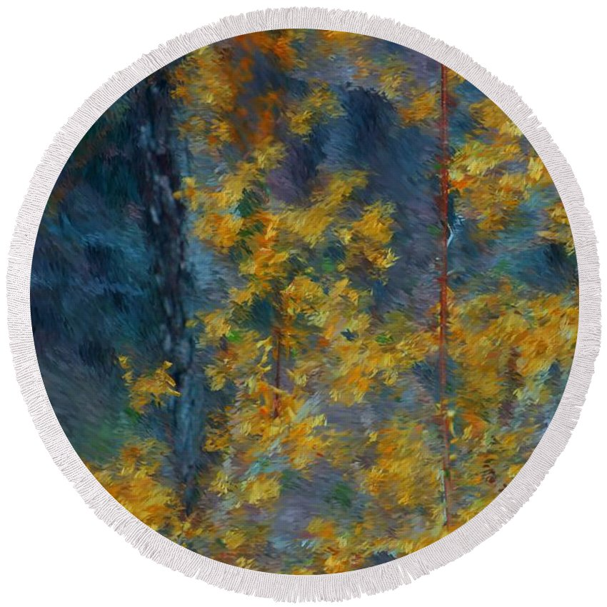 Round Beach Towel featuring the photograph In The Woods by David Lane