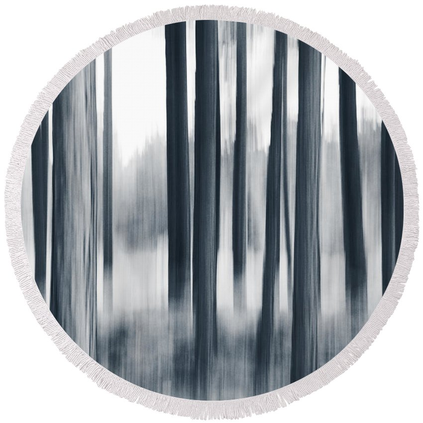 Panning Round Beach Towel featuring the photograph In The Woods by Dorit Fuhg