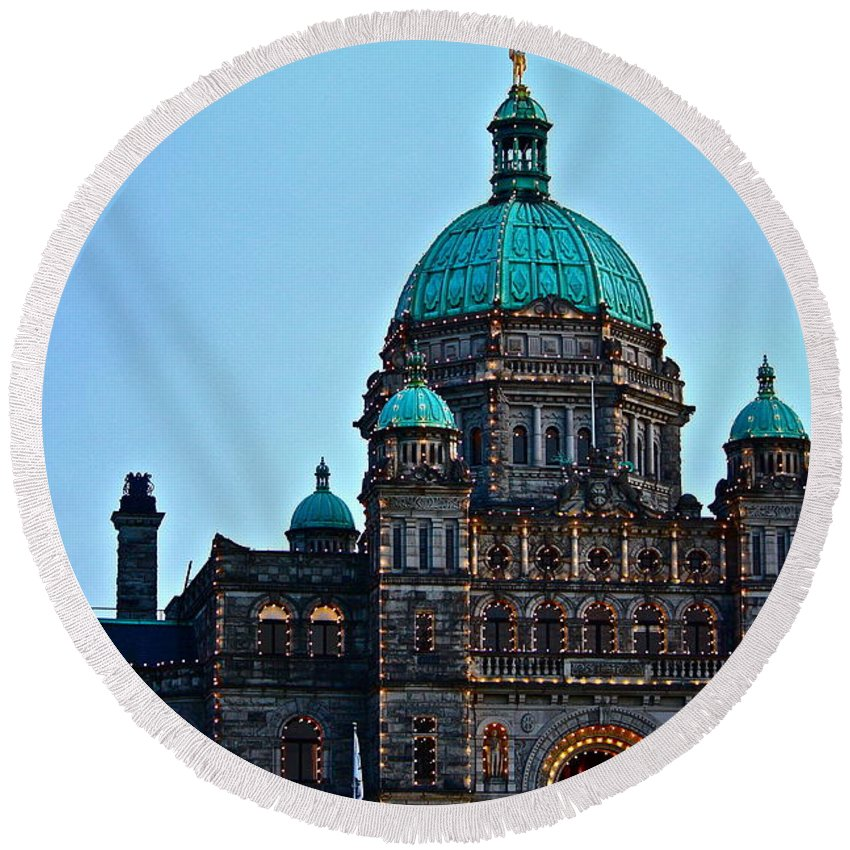 Architecture Round Beach Towel featuring the photograph In Victoria by Diana Hatcher