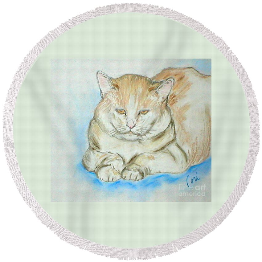 Pastel Round Beach Towel featuring the drawing In Waiting by Cori Solomon