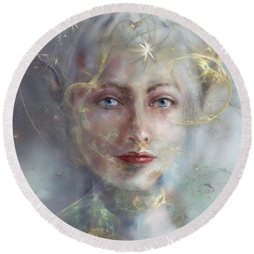 Faerie Round Beach Towel featuring the digital art In Your Dreams by Kathy Russell