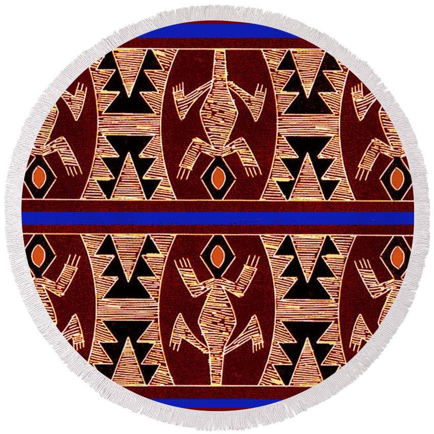 Inca Geckos Round Beach Towel featuring the digital art Inca Gecko Spirits by Vagabond Folk Art - Virginia Vivier