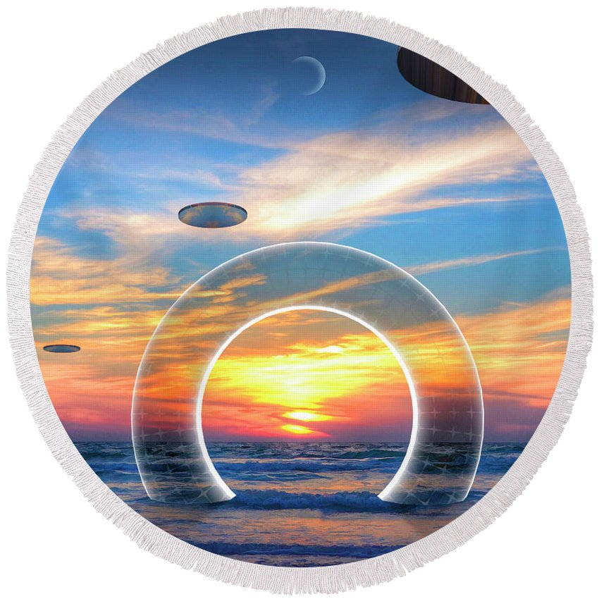 Sky Round Beach Towel featuring the digital art Incentive by Snake Jagger