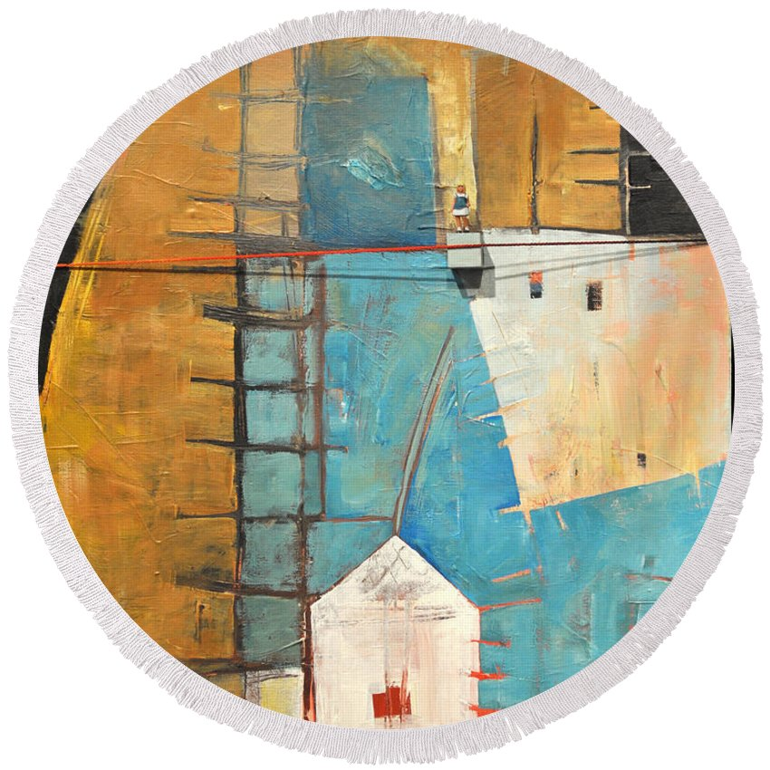 Abstract Round Beach Towel featuring the painting Incident At Harpers Corner by Tim Nyberg