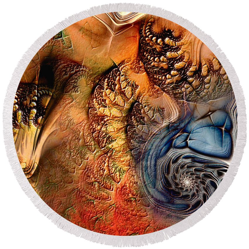 Abstract Round Beach Towel featuring the digital art Incident At Neshabur by Casey Kotas