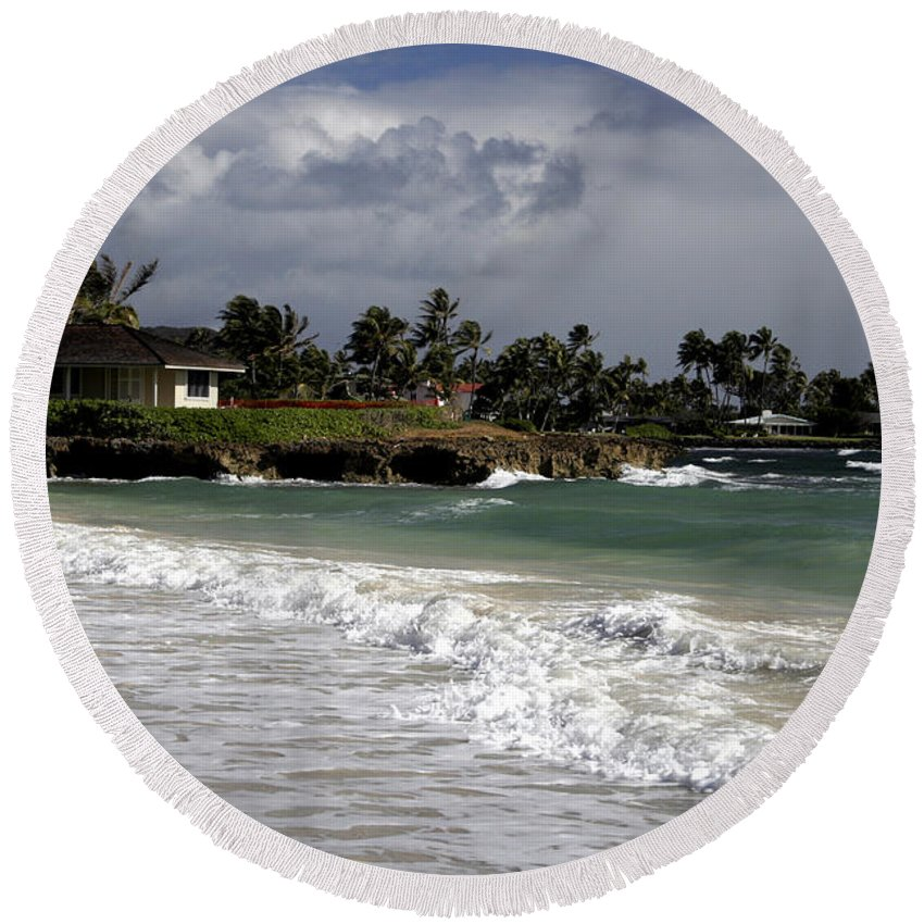 Round Beach Towel featuring the photograph Incoming by Kenneth Campbell
