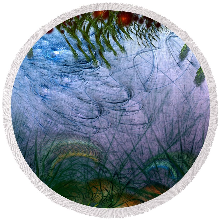 Abstract Round Beach Towel featuring the digital art Incursion Into The Inversion by Casey Kotas