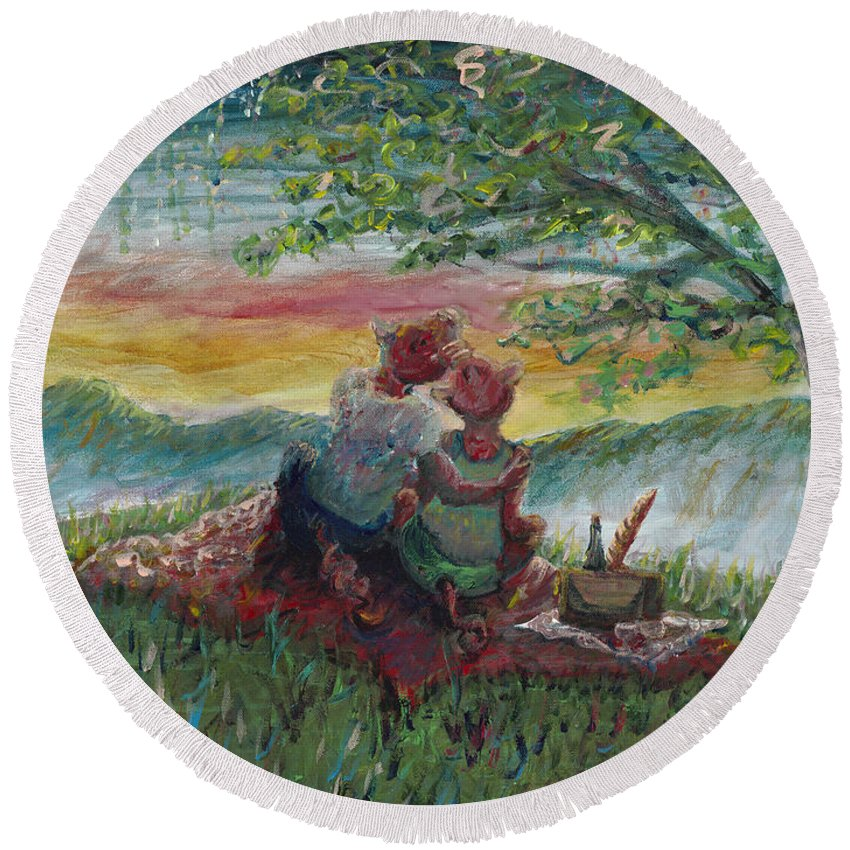 Landscape Round Beach Towel featuring the painting Independance Day Pignic by Nadine Rippelmeyer
