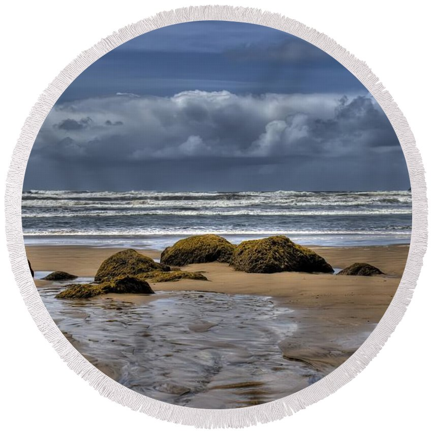 Hdr Round Beach Towel featuring the photograph Indian Beach by Brad Granger