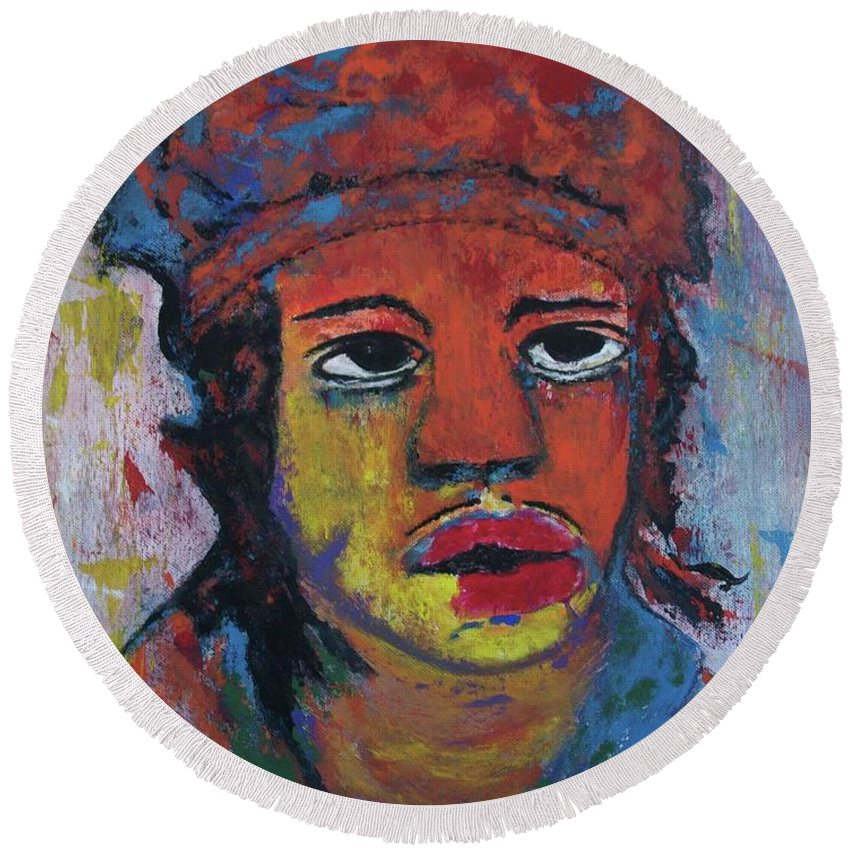 Portrait Figurative Art Round Beach Towel featuring the painting Indian Boy by Crina Iancau