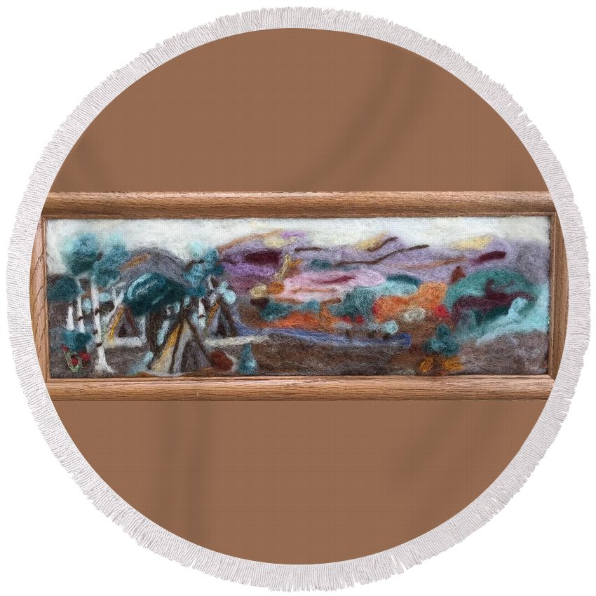Wool Painting Round Beach Towel featuring the tapestry - textile Indian Camp by Christine Lathrop