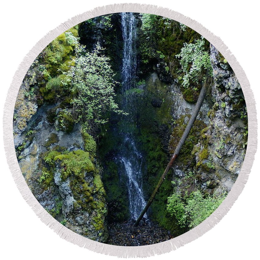 Nature Round Beach Towel featuring the photograph Indian Canyon Waterfall by Ben Upham III