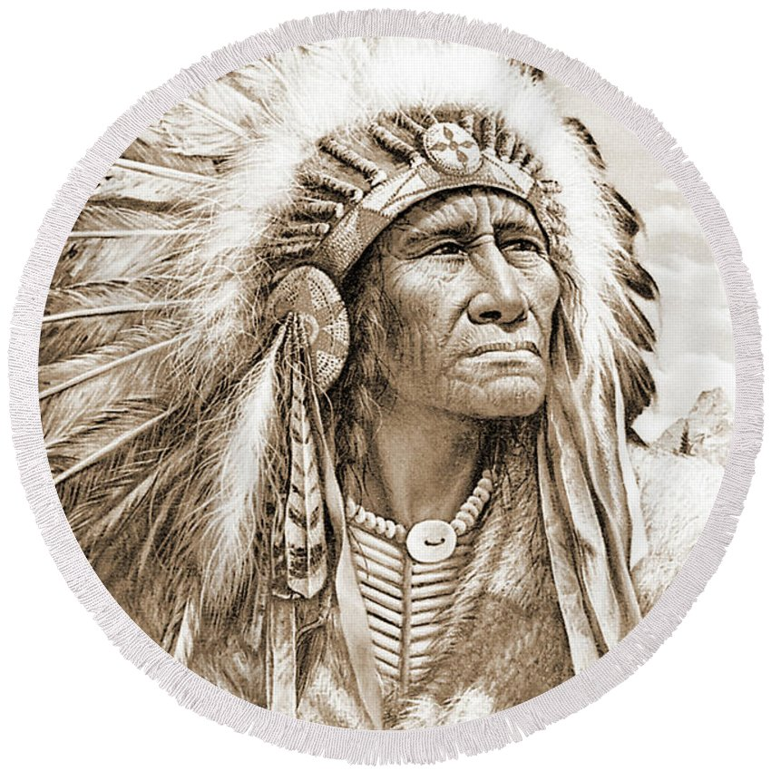 Native Round Beach Towel featuring the photograph Indian Chief With Headdress by Gary Wonning