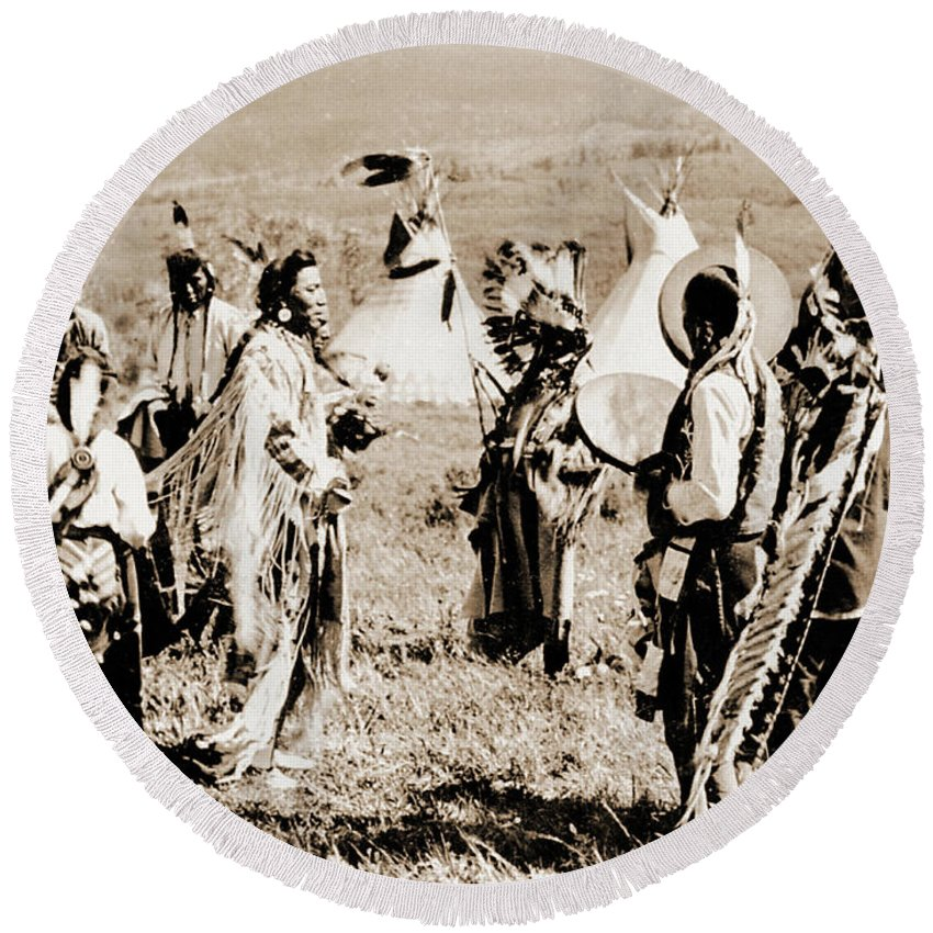 Native Round Beach Towel featuring the photograph Indian Council by Gary Wonning
