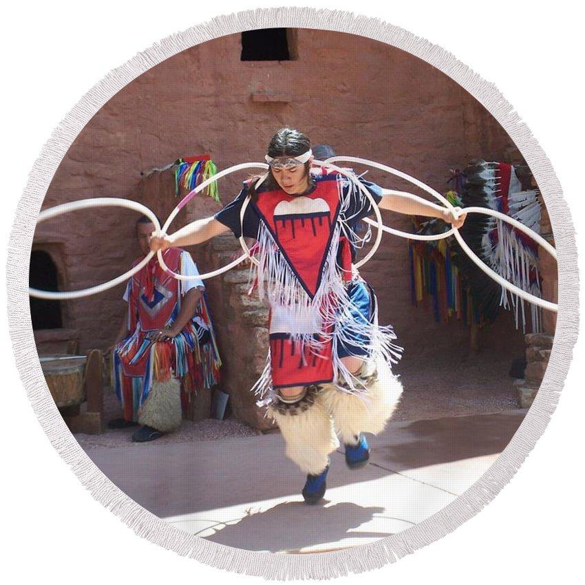 Indian Dancer Round Beach Towel featuring the photograph Indian Hoop Dancer by Anita Burgermeister