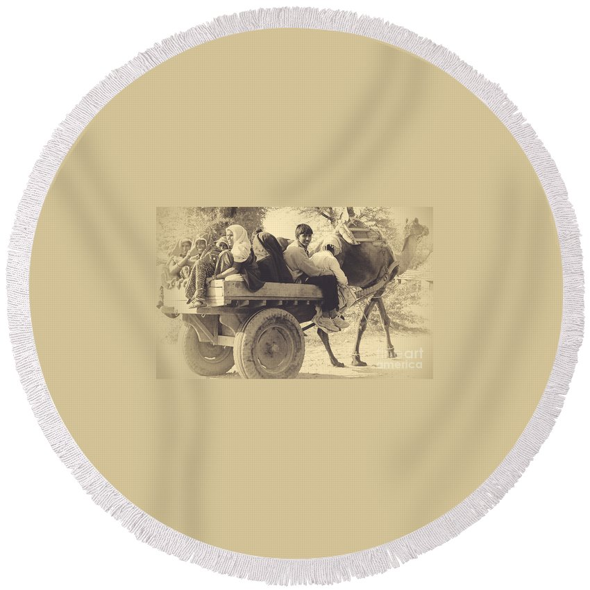 India Round Beach Towel featuring the photograph Indian People In Camel Cart- Sepia by Sonal Dave
