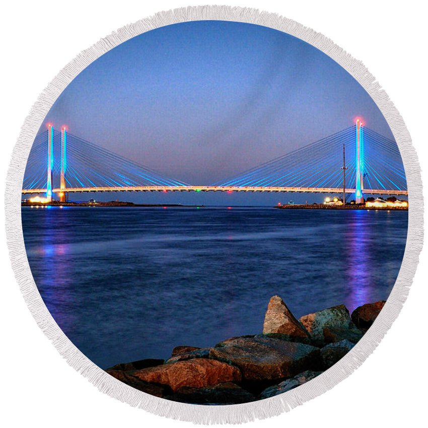 Indian River Inlet Round Beach Towel featuring the photograph Indian River Inlet Bridge Twilight by Bill Swartwout Photography