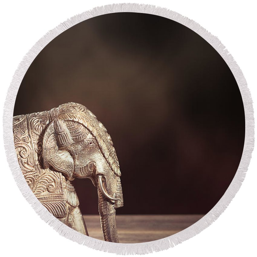 Antique Round Beach Towel featuring the photograph Indian Silver Elephant by Amanda Elwell