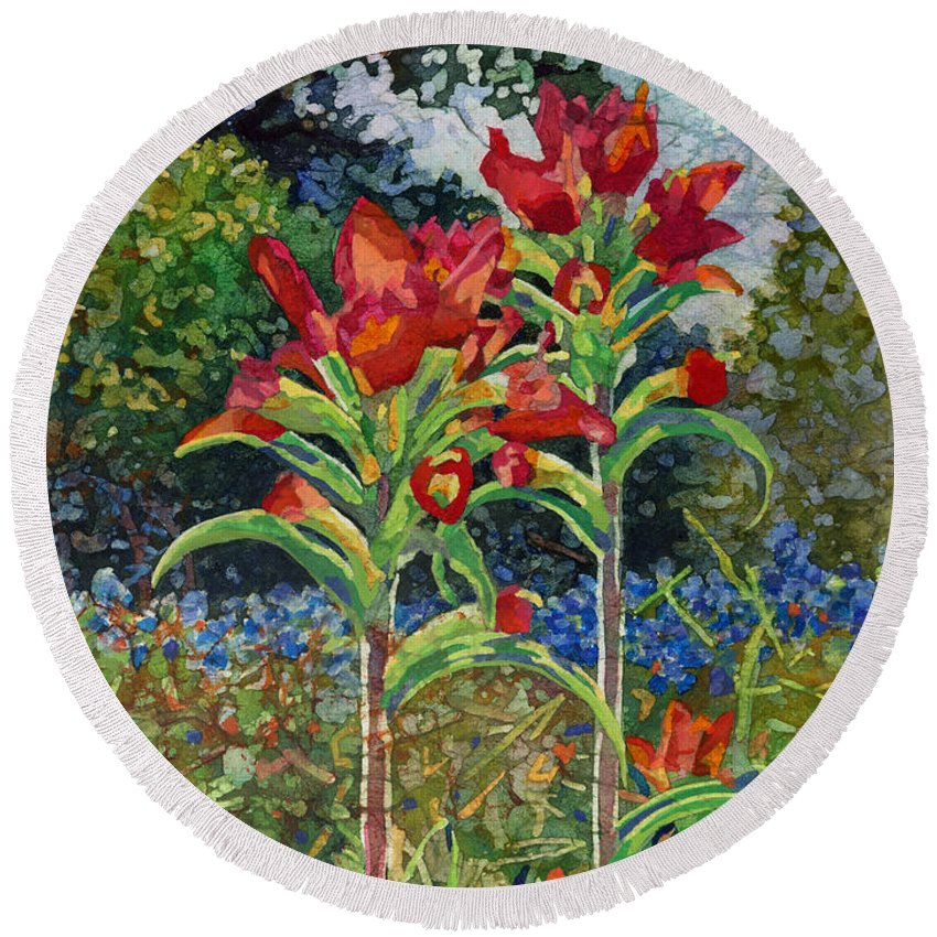 Wild Flower Round Beach Towel featuring the painting Indian Spring by Hailey E Herrera