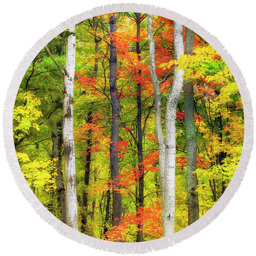 Indian Summer Round Beach Towel featuring the photograph Indian Summer by Christina Rollo