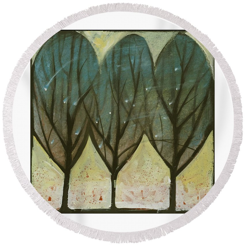 Trees Round Beach Towel featuring the painting Indian Summer Snow by Tim Nyberg