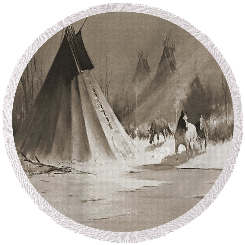 American Round Beach Towel featuring the photograph Indian Tee Pee by Gary Wonning