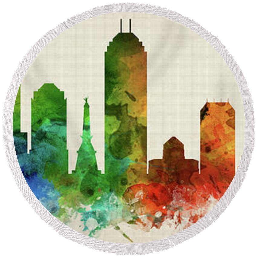 Indianapolis Round Beach Towel featuring the digital art Indianapolis Skyline Panorama Usinin-pa03 by Aged Pixel