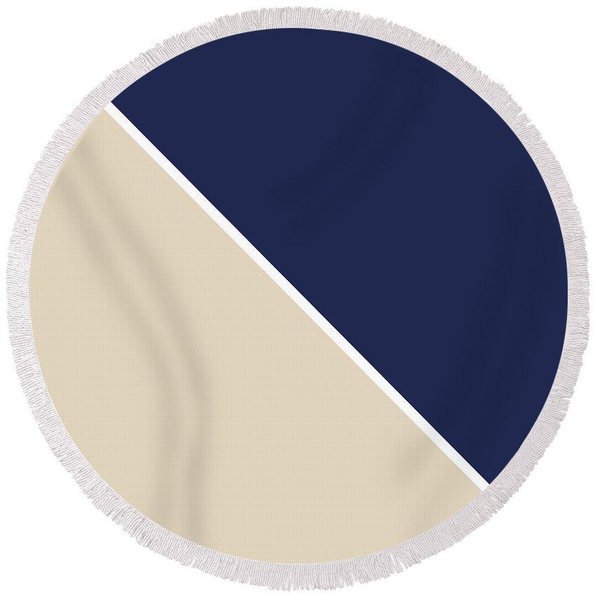 Blue Round Beach Towel featuring the digital art Indigo and Sand Geometric by Linda Woods