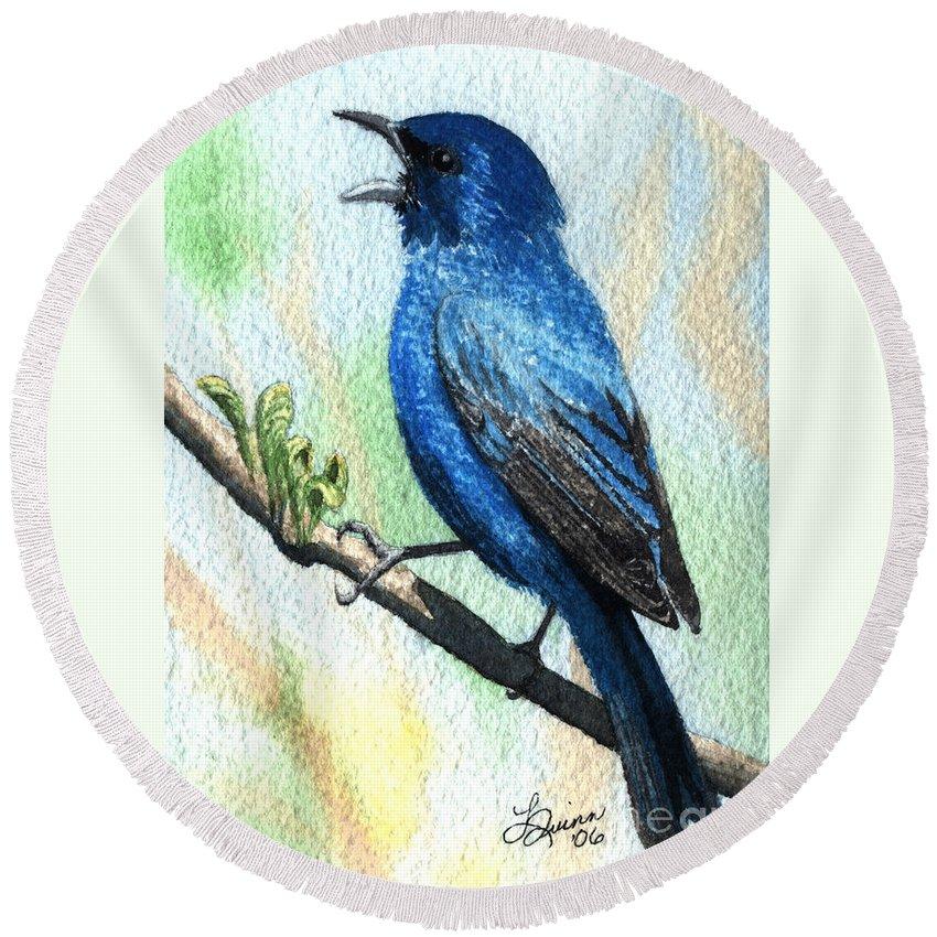 Bird Round Beach Towel featuring the painting Indigo Bunting by Lynn Quinn
