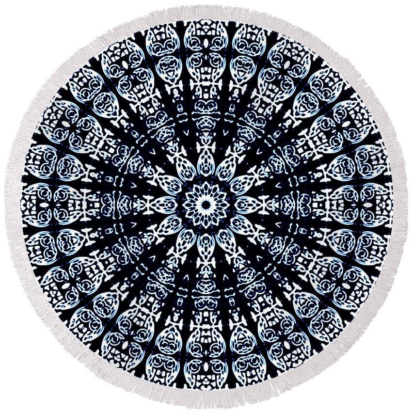 Flow Round Beach Towel featuring the digital art Indigo Flow Blue Kaleidoscope by Joy McKenzie