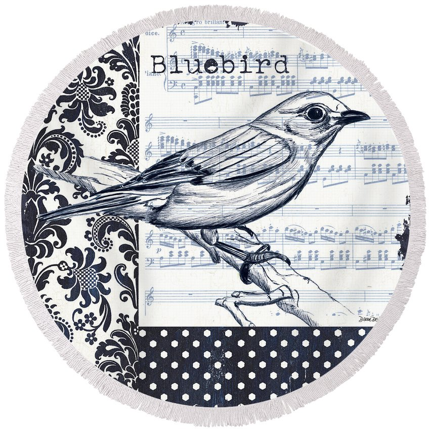 Bird Round Beach Towel featuring the painting Indigo Vintage Songbird 1 by Debbie DeWitt
