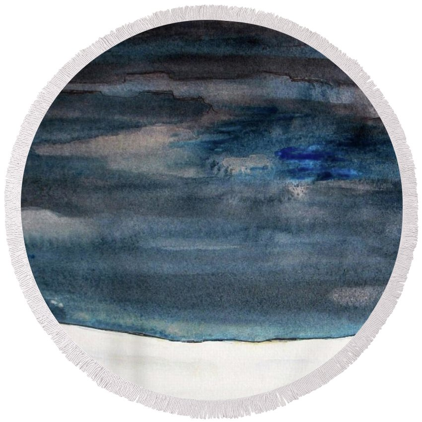 Abstract Round Beach Towel featuring the painting Indigo Winter Night by Vesna Antic