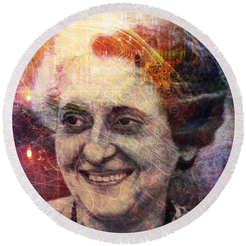 indira Gandhi Round Beach Towel featuring the digital art Indira by Barbara Berney