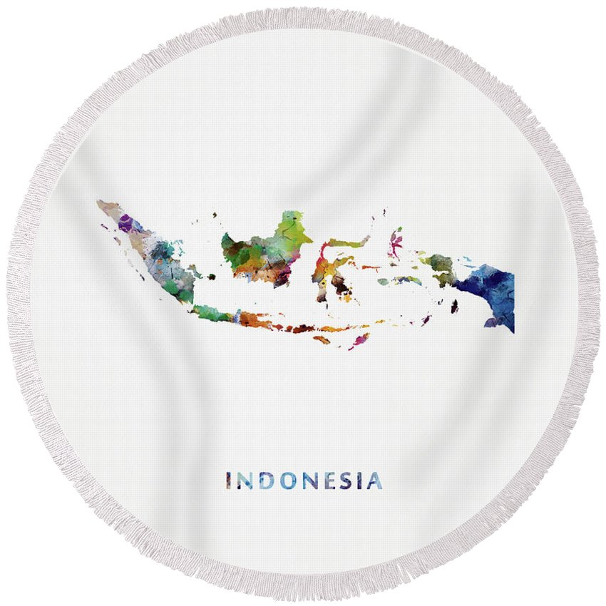 Indonesia Round Beach Towel featuring the mixed media Indonesia by Monn Print