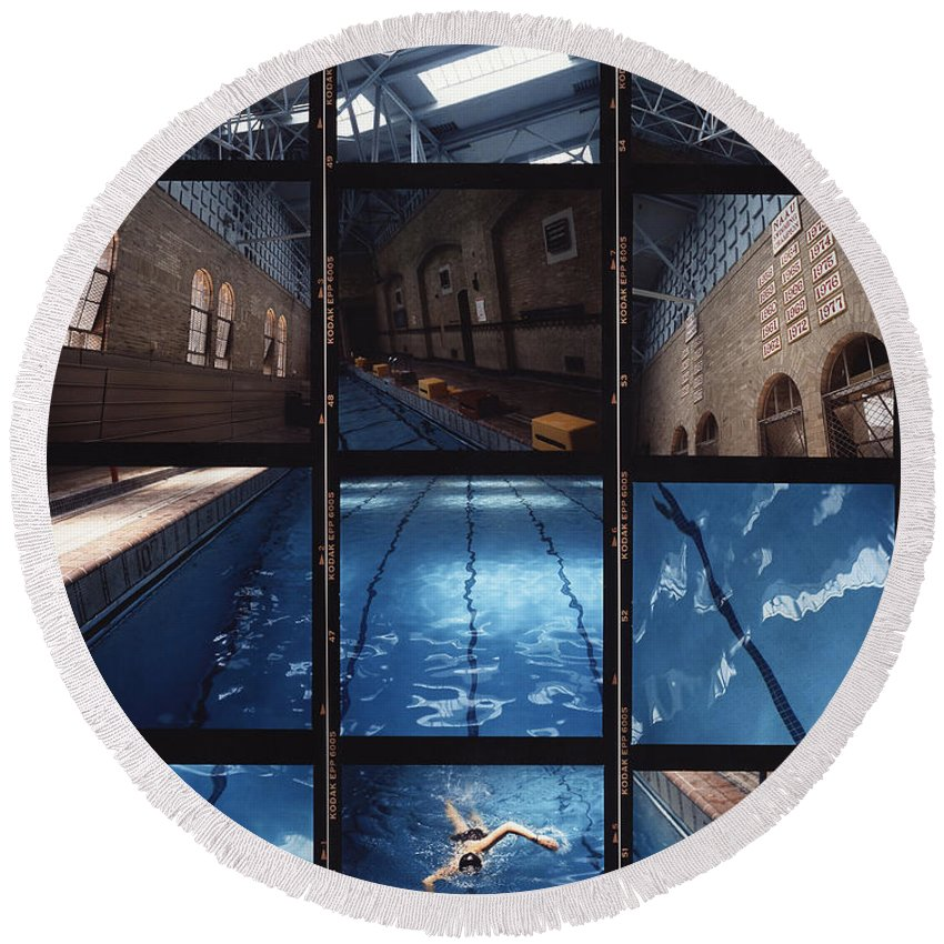 Pool Round Beach Towel featuring the photograph Indoor Pool by Steve Williams