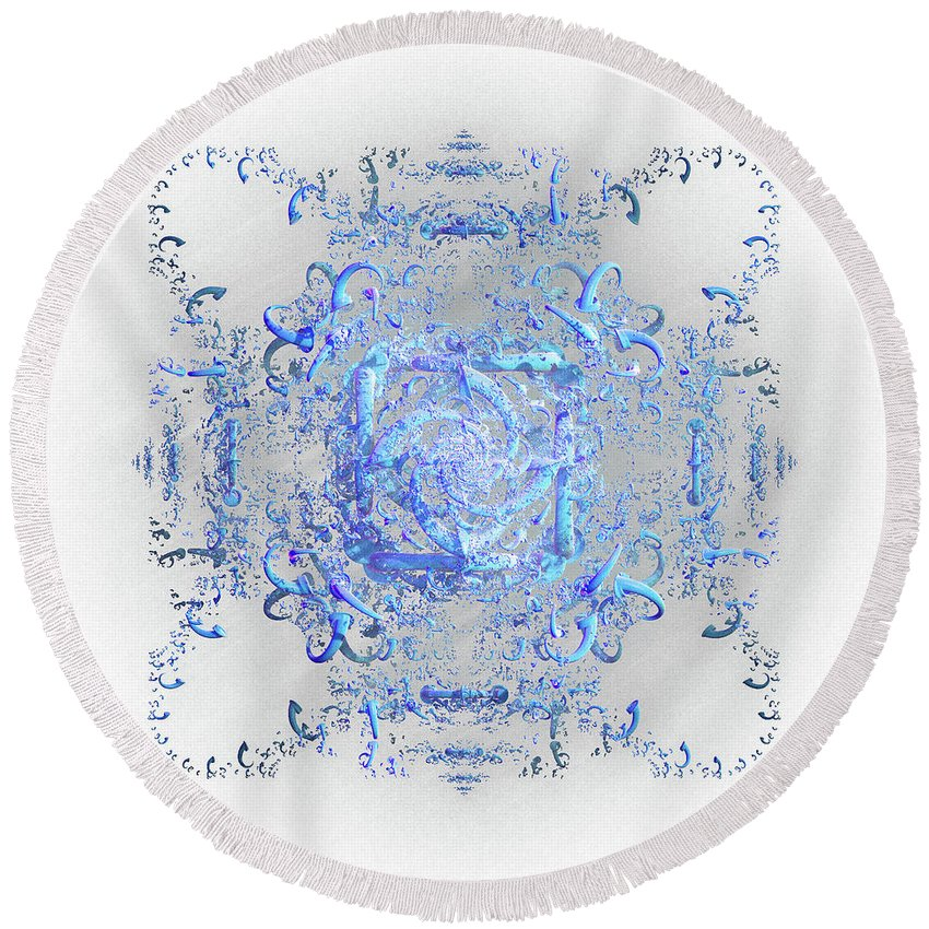 Lace Round Beach Towel featuring the digital art Indulgent Blue Lace by Rosalie Scanlon