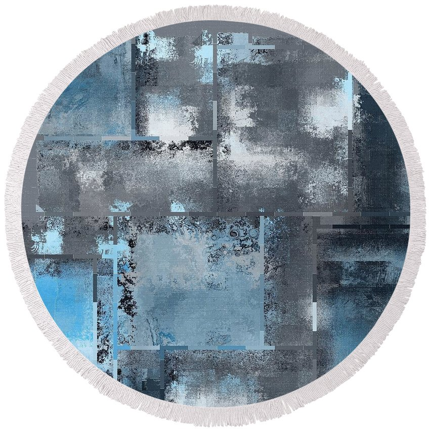 Abstract Round Beach Towel featuring the digital art Industrial Abstract - 10t by Variance Collections